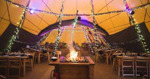 tipi marquee interior at night