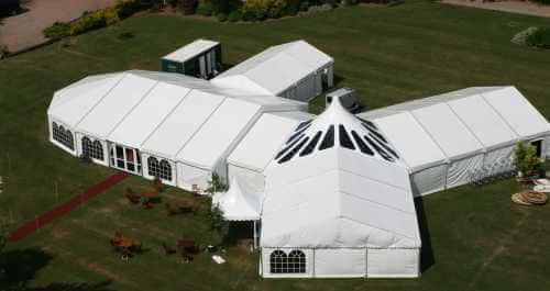 clearspan marquee aerial view