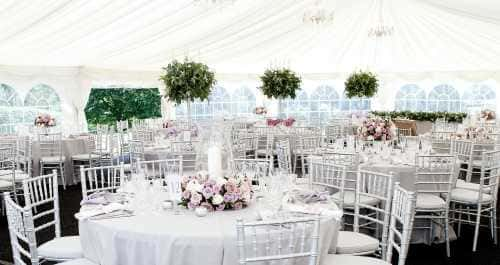 white and lilac marquee interior