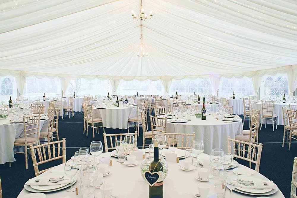 marquee wedding reception tables