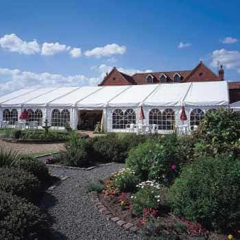 clearspan marquee in gardens