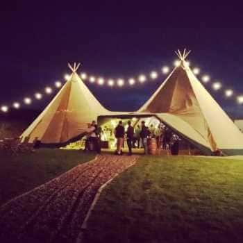 Tipi tent at night
