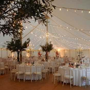 traditional marquee interior with fairy lights
