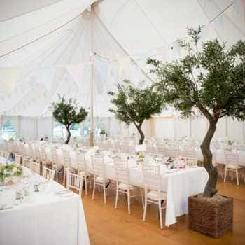 traditional marquee long tables interior