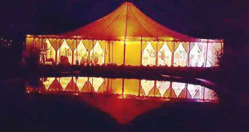 Traditional marquee at night