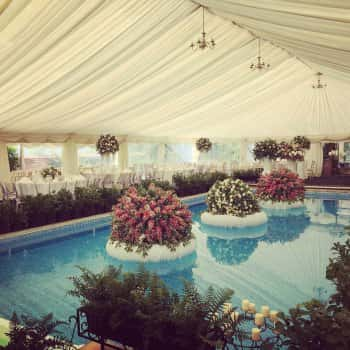 Clearspan marquee over swimming pool