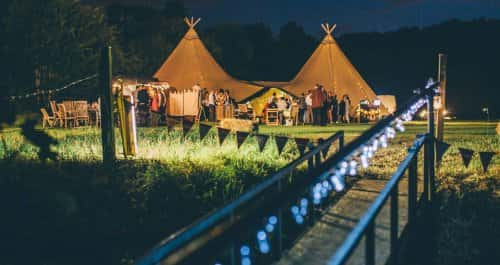 Tipi marquee at night