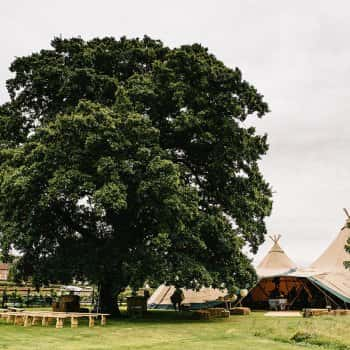 Tipi marquee from the outside